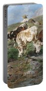Young Cattle In Tyrol Portable Battery Charger