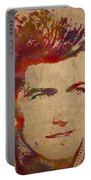 Young Clint Eastwood Actor Watercolor Portrait On Worn Parchment Portable Battery Charger