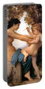 Young Girl Defending Herself Against Cupid Portable Battery Charger