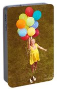 Young Happy Woman Flying On Colorful Helium Balloons Portable Battery Charger