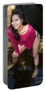 Young Hispanic Woman In Creek Portable Battery Charger