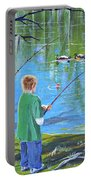 Young Lads Fishing Portable Battery Charger
