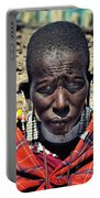 Portrait Of Young Maasai Woman At Ngorongoro Conservation Tanzania Portable Battery Charger
