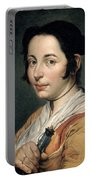 Young Peasant Woman Holding A Wine Flask Portable Battery Charger
