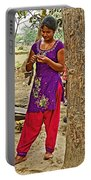 Young Tharu Village Woman In Traditional Nepali Clothing-nepal  Portable Battery Charger