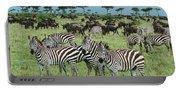 Zebra And Wildebeest Grazing Masai Mara Portable Battery Charger