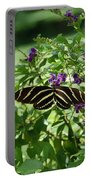 Zebra Longwing Butterfly On Flower Portable Battery Charger