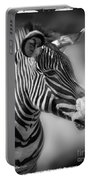 Zebra Profile In Black And White Portable Battery Charger
