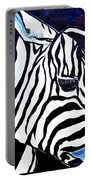 Zebras On A Blue Night Portable Battery Charger