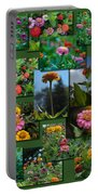 Zinnias Collage Rectangle Portable Battery Charger
