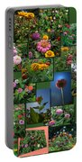 Zinnias Collage Square Portable Battery Charger