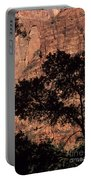 Zion National Park Canyon Walls With Silhouetted Trees In Front  Portable Battery Charger