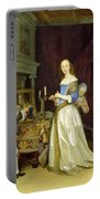 A Lady At Her Toilet Portable Battery Charger by Gerard ter Borch