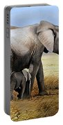 Elephant And Her Child Portable Battery Charger