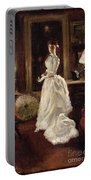 Interior Scene With A Lady In A White Evening Dress  Portable Battery Charger
