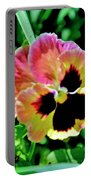 Pink And Yellow Pansy Portable Battery Charger