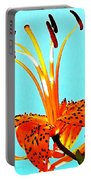 Turquoise And Tiger Lily Portable Battery Charger