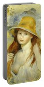 Young Girl With A Straw Hat Portable Battery Charger