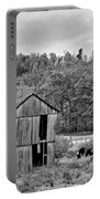 Autumn Farm Monochrome Portable Battery Charger by Steve Harrington