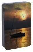 Boat In Sunset Portable Battery Charger