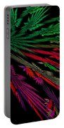Computer Generated Red Green Abstract Fractal Flame Modern Art Portable Battery Charger