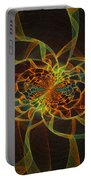 Computer Generated Yellow Vortex Abstract Fractal Flame Art Portable Battery Charger