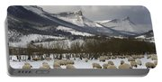 Flock Of Sheep In The Snow Portable Battery Charger