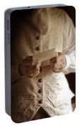 Gentleman In Vintage Clothing Reading A Letter Portable Battery Charger