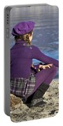 Girl At A Lake Portable Battery Charger by Joana Kruse