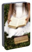 Girl Is Reading A Book Portable Battery Charger