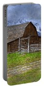 Grand Teton Iconic Mormon Barn Fence Spring Storm Clouds Portable Battery Charger