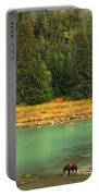 Grizzly Bear Fishing In Chilkoot River Portable Battery Charger