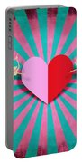 Heart And Cupid On Paper Texture Portable Battery Charger