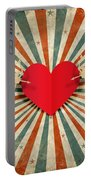 Heart And Cupid With Ray Background Portable Battery Charger by Setsiri Silapasuwanchai