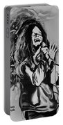 Janis In Black And White Portable Battery Charger