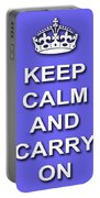 Keep Calm And Carry On Poster Print Blue Background Portable Battery Charger