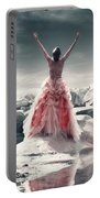 Lady On The Rocks Portable Battery Charger by Joana Kruse