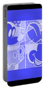 Mickey In Negative Light Blue Portable Battery Charger