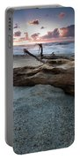 Old Tree Trunk On A Beach  Portable Battery Charger