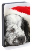 Puppy Sleeping In Christmas Hat Portable Battery Charger