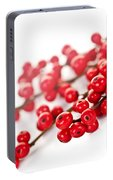 Red Christmas Berries Portable Battery Charger