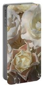 Romantic White Roses Portable Battery Charger