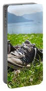 Shoes On The Green Grass Portable Battery Charger