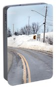 Snow By The Roadside Portable Battery Charger