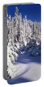 Snow-covered Pine Trees On Mount Hood Portable Battery Charger