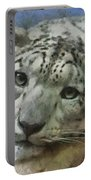 Snow Leopard Painterly Portable Battery Charger