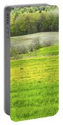 Spring Farm Landscape With Dandelion Bloom In Maine Portable Battery Charger by Keith Webber Jr