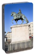 Statue Of King Charles IIi In Madrid Portable Battery Charger