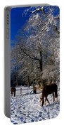 Thoroughbred Horses, Mares In Snow Portable Battery Charger