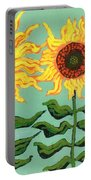 Three Sunflowers Portable Battery Charger by Genevieve Esson